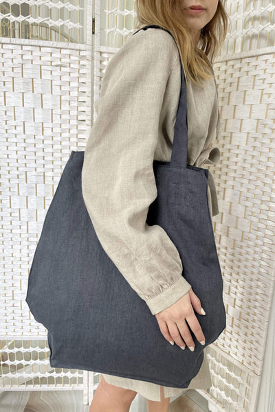 Candice Light Graphite Linen Bag pretty_linen_com
