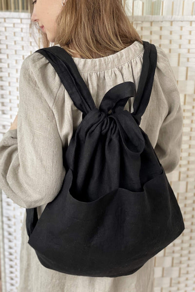 Diana Black Linen Bag pretty_linen_com