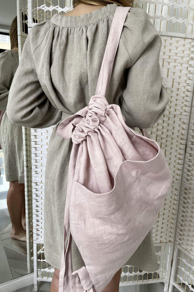 Diana Dusty Rose Linen Bag pretty_linen_com
