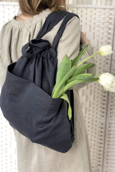 Diana Light Graphite Linen Bag pretty_linen_com