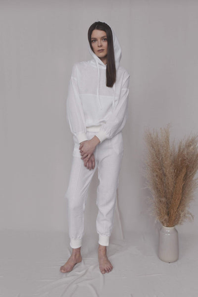 Evie Casual Linen Suit in White pretty_linen_com