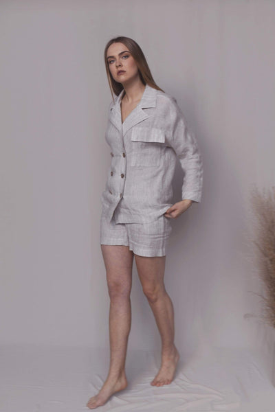 Lana Loose Summer Linen Suit with Shorts pretty_linen_com