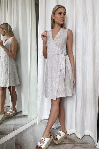 Lora Mini Wrap Linen Dress pretty_linen_com