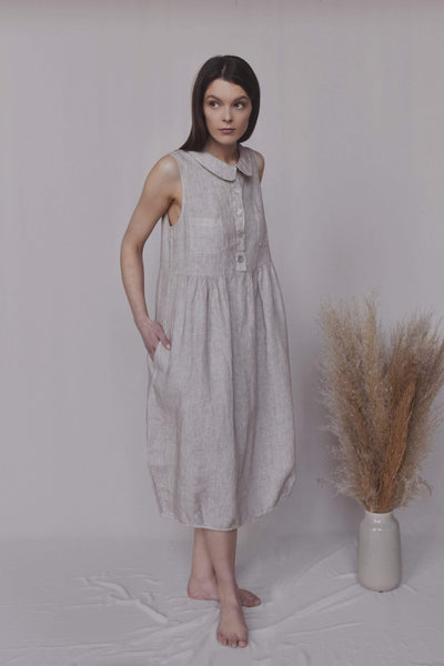 Olivia Loose Midi Linen Dress pretty_linen_com