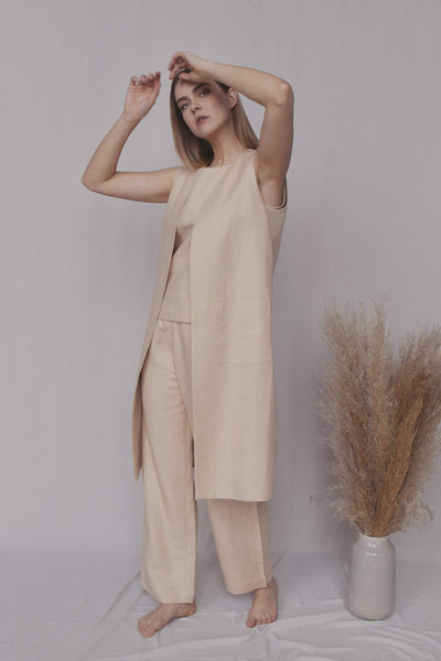 Ruth Linen Suit in Beige pretty_linen_com