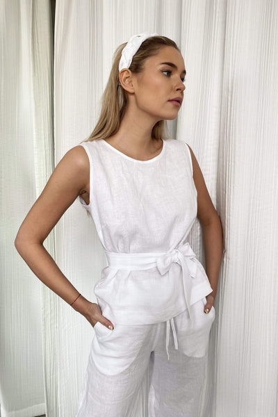 Tina Casual Linen Top in White pretty_linen_com
