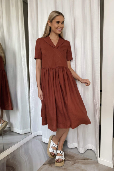 Vivian Loose Midi Linen Dress pretty_linen_com