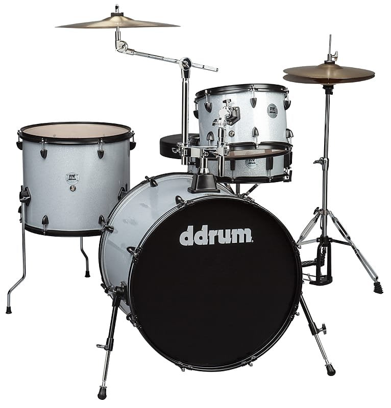 D2 Rock- Complete 4pc. Drumset with Cymbals- Silver Sparkle