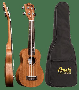 Amahi Mahogany, Arched Back, Travel Size (Thin Body) Concert Ukulele