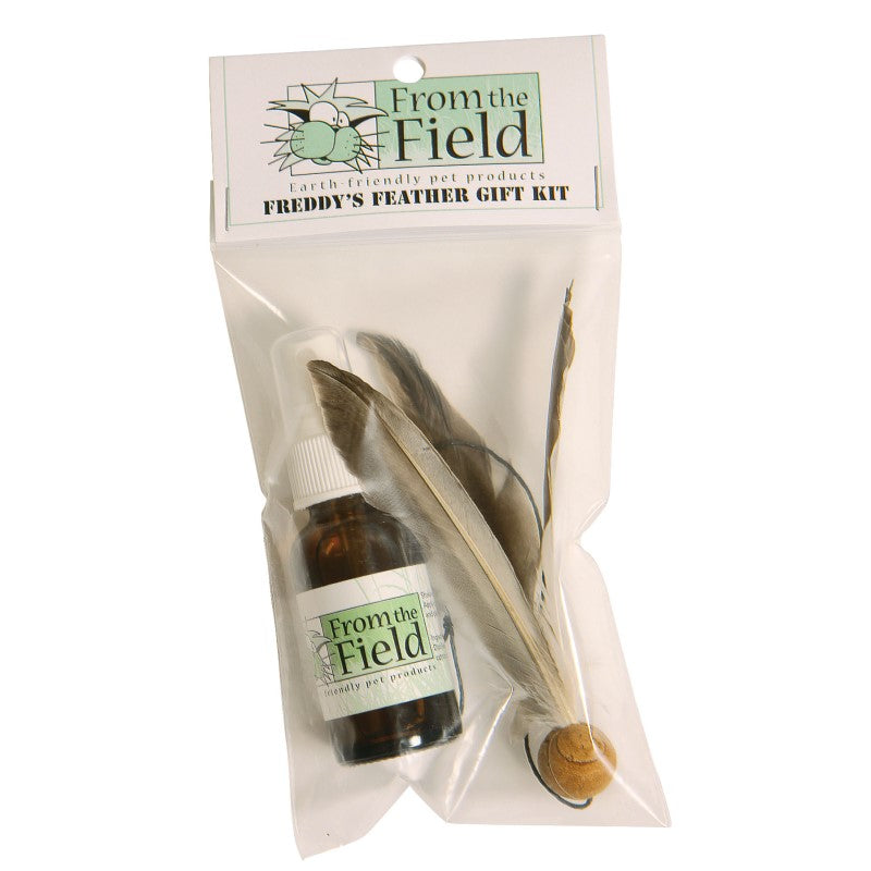 From the Field Freddy's Feather Wand Cat Toy - REFILL Gift Set. Contains one Freddy's Feather Refill and one Catnip Spray Rejuvenator.