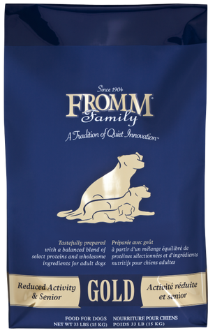 Fromm dry Gold in reduced activity and senior blue bag