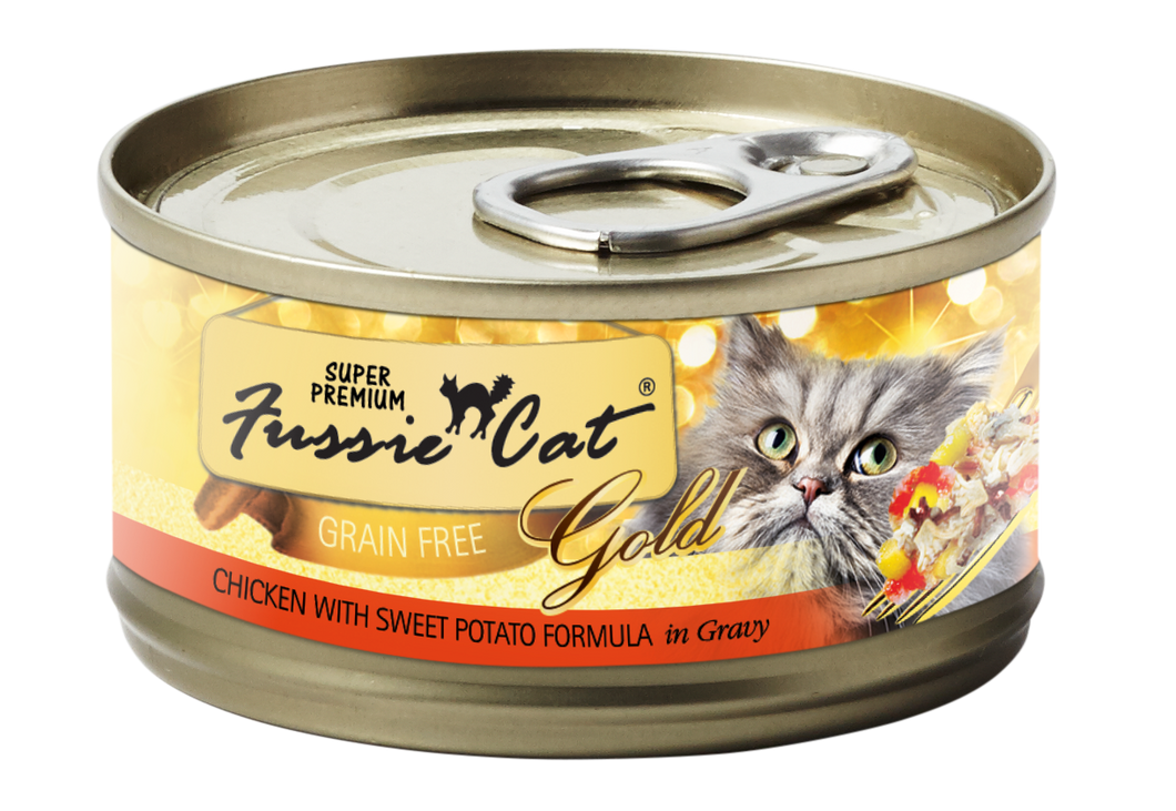 Can of Fussie Cat  Super Premium Chicken and Sweet Potato