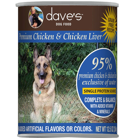 12.5 ounce can of Dave's Grain-Free 95% Chicken and Chicken Liver