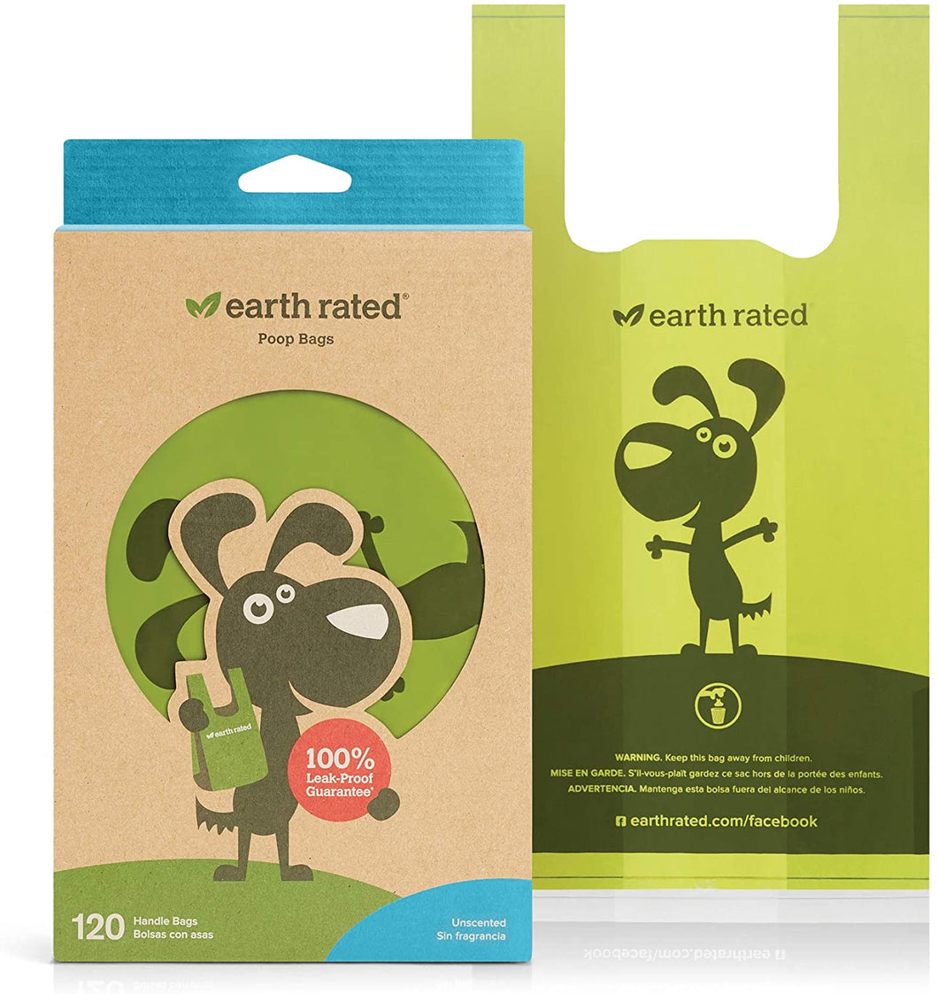 Earth Rated poop bags with Easy Tie handle in unscented. 120 bags per pack