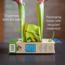 Load image into Gallery viewer, Image showing Earth Rated poop bags with easy tie handle can be dispensed from the box