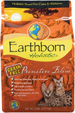 five pound bag of earthborn dry cat food with turkey and chicken.  for cats and kittens