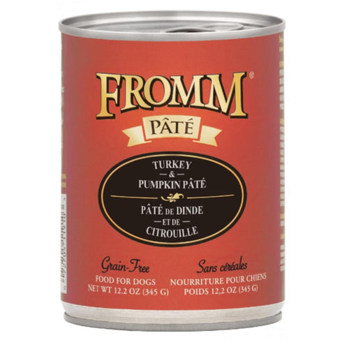 12.2 ounce can of Fromm Grain-Free Turkey & Pumpkin Pate for dogs
