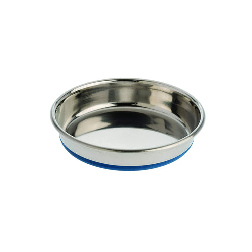 Indipets heavyweight stainless shallow bowl with rubber base