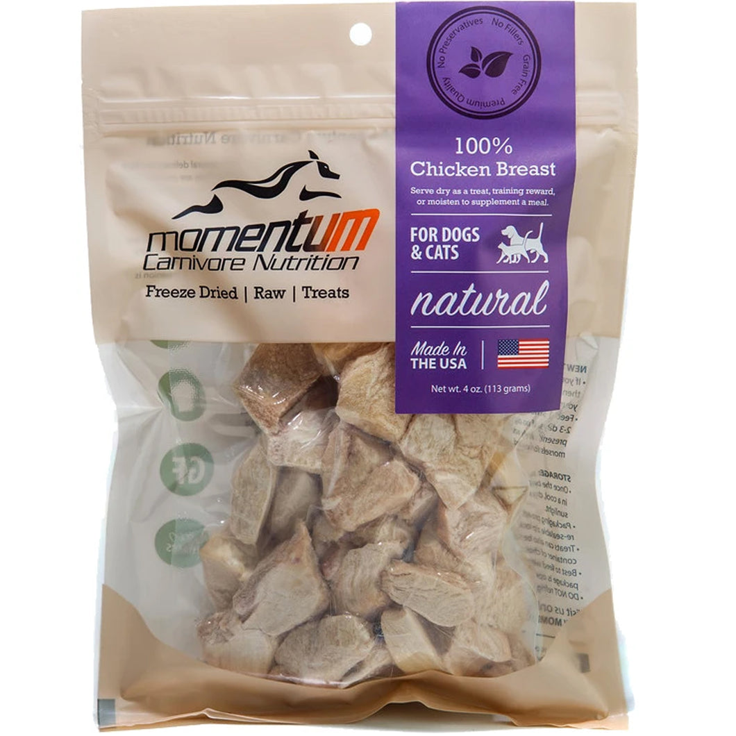 Four ounce bag of Momentum Freeze-Dried Chicken Breast Treats for dogs and cats