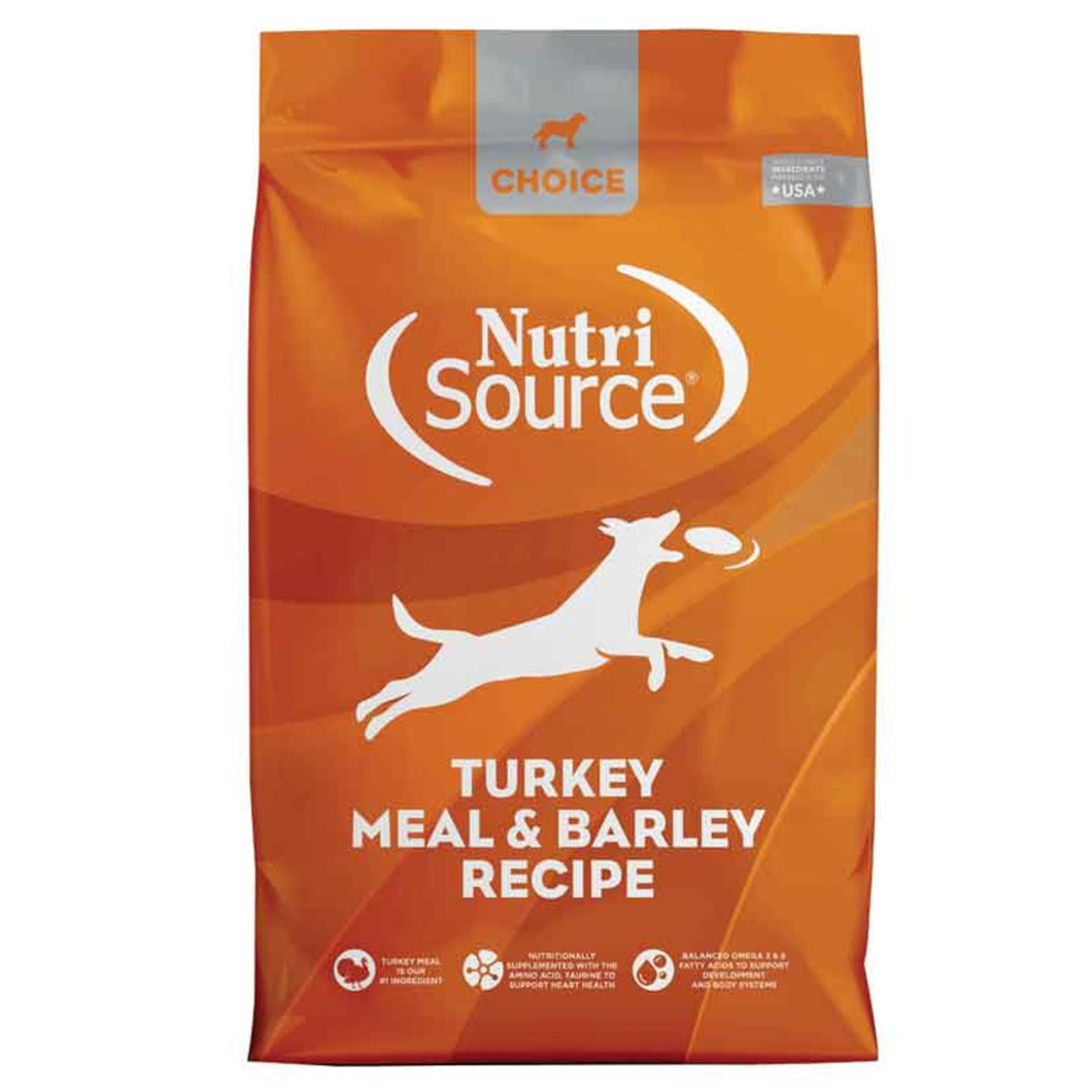 Nutrisource choice dry dog food turkey and barley for dogs and puppies