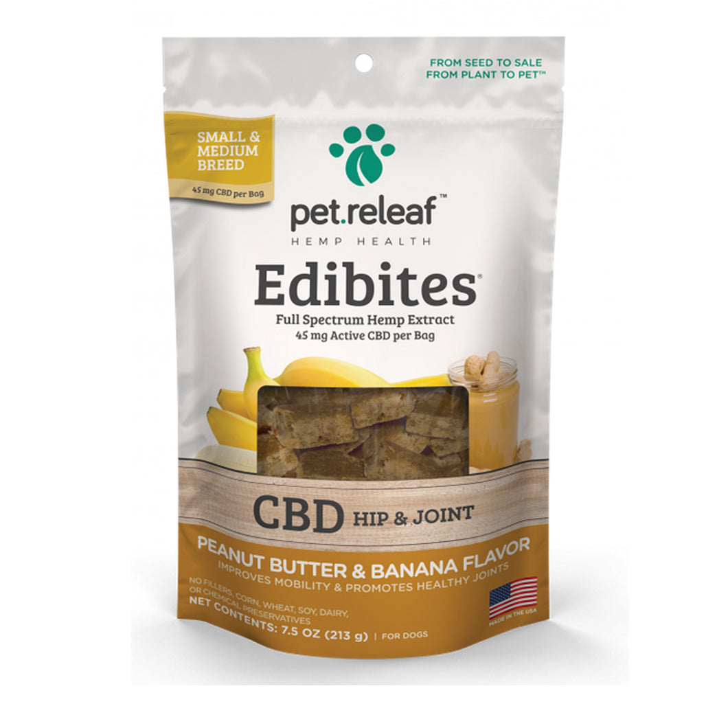 Pet Releaf Peanut Butter & Banana Edibites (Hip & Joint) for Small & Medium Dogs