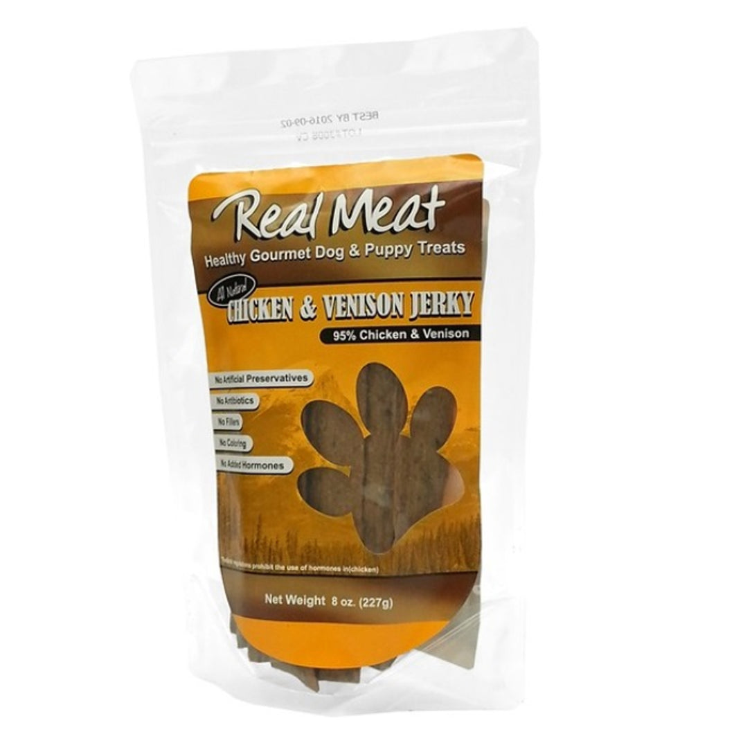 Real meat chicken and venison jerky treats 8 oz strips for dogs and puppies