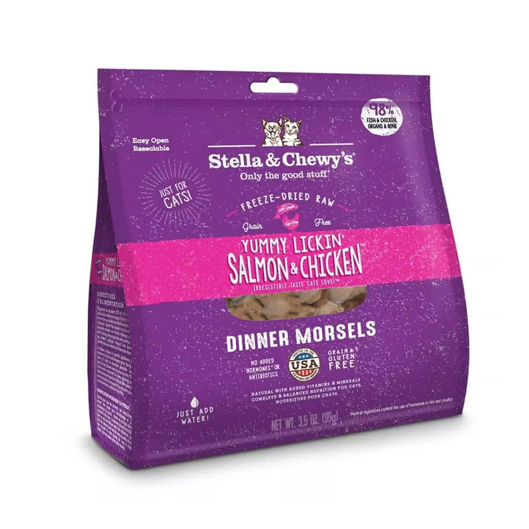 Stella & Chewy's freeze dried cat food dinner morsels in salmon and chicken for cats and kittens