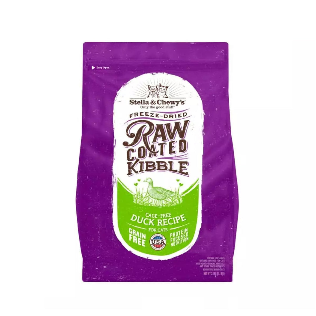 stella & chewys raw cage free blend kibble cat food in cage ffee duck recipe  for cats and kittens