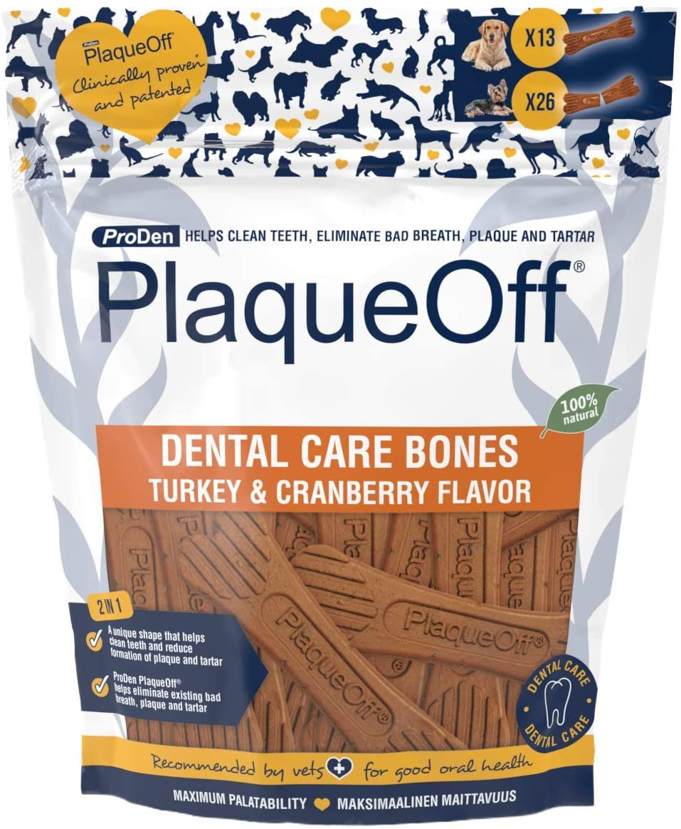 swedencare pro den plaqueoff dental bones in turkey and cranberry for dogs and puppies