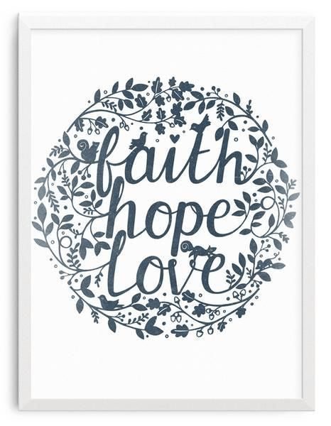 Faith, love, hope print