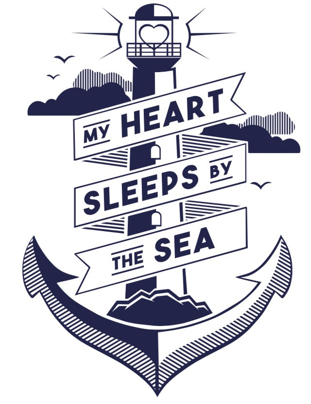 My heart sleeps by the sea tea towel