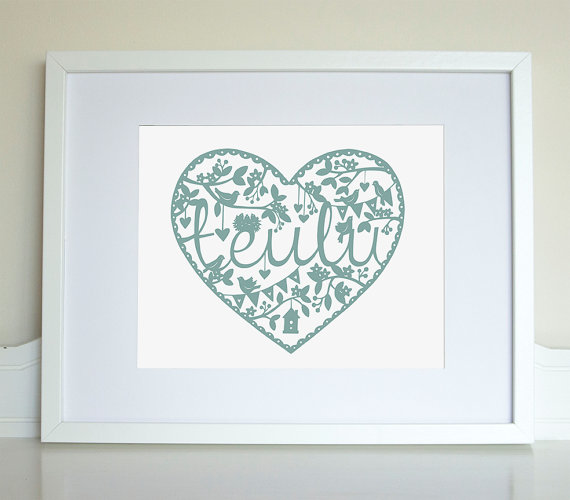 WELSH TEULU Family Heart paper cut style print.