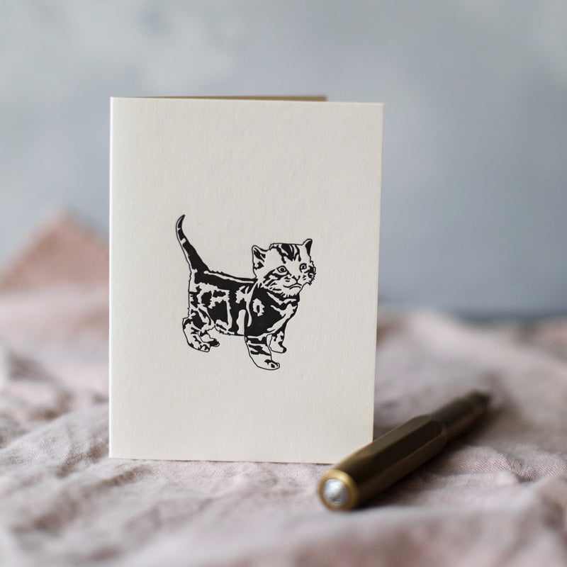 Standing Tabby Cat Card