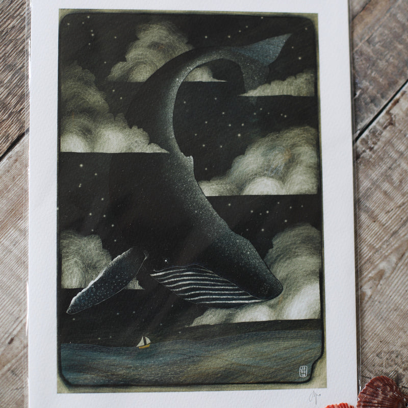 Whale in clouds print