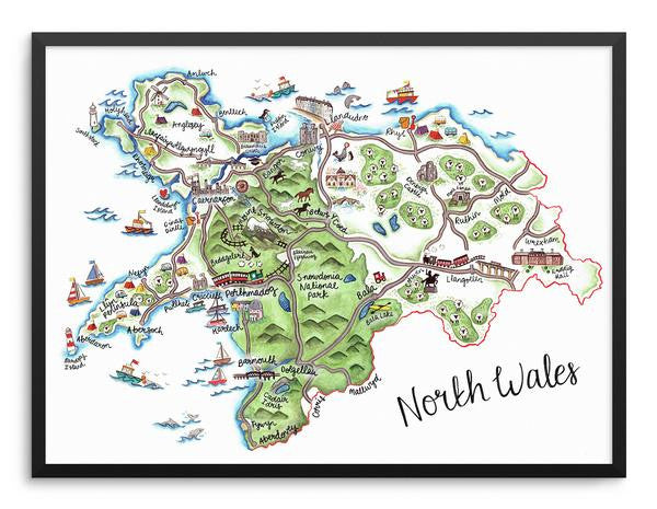 North Wales Map Print