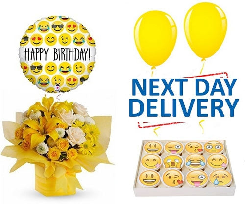 Yellow Happy Birthday Emoji Set - Dubai