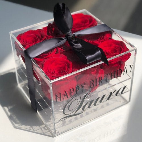 Personalized Birthday Roses Acrylic box