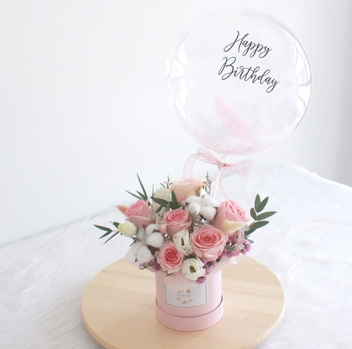 Bubble balloon with flowers