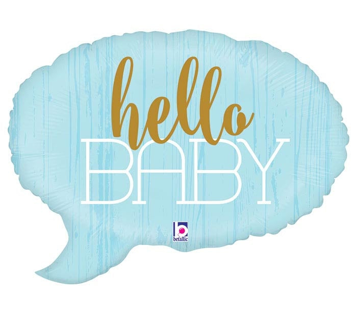Hello Baby Blue Bubble Shape Balloon