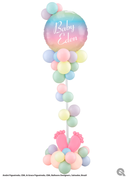 Personalized Pastel Color Balloon Stand Dubai
