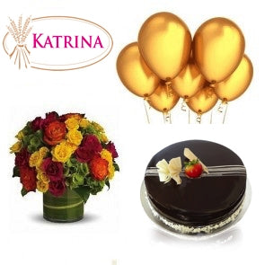 Chocolate Cake with flowers and balloons