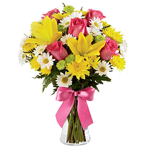 Pink & Yellow Flowers in a Vase - Dubai