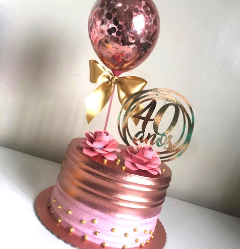 Rose Gold cake dubai with topper