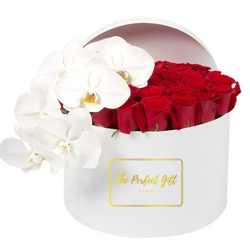 Red Roses and White Orchids UAE