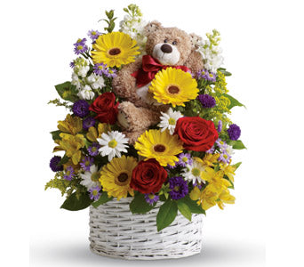 Colorful Spring Bloom Flower Basket with Teddy - Dubai