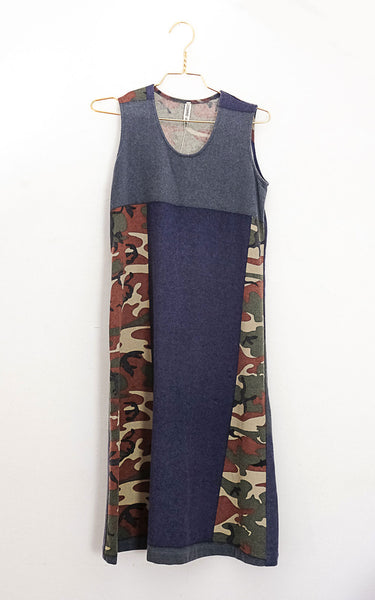 COMME BLUE CAMO DRESS