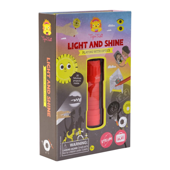 The Light & Shine Kit enables kids to dive into open-ended-play while encouraging tons of trial-and-error and problem-solving exploration. A great way to keep your little one engaged and excited about learning something new! These experiments are intended to help kids apply STEAM (Science, Technology, Engineering, Arts, and Mathematics) principles to the world around them. This Playing with Optics kit makes math and science fun, and is perfect for solo play or get some friends involved for some unplugged en