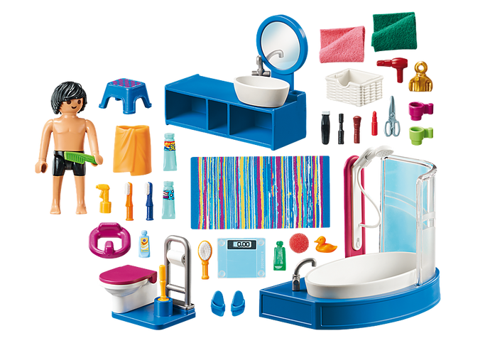 Figures: 1 man Accessories: 1 washbasin with basin and mirror, 1 bathtub, 1 toilet with toilet paper holder and toilet brush, 1 children's toilet seat, 1 stool, 2 baskets, 1 carpet, 1 lipstick, 1 mascara, 1 powder brush, 1 comb, 1 hairbrush, 2 cups, 2 tubes, 2 toothbrushes, 1 spray bottle, 1 bottle, 1 scissors, 2 cosmetic bottles, 1 hairdryer, 1 razor, 1 pair of scales, 1 bath towel, 1 bath duck, 2 towels, 1 sponge, 1 pair of bath slippers