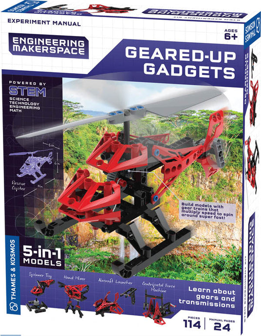 5 in 1 models.  Build models with gear trains that multiply speed to spin around super fast!  Rescue Copter, Spinner Toy, Hand Mixer, Aircraft Launcher, Centripetal Force Machine