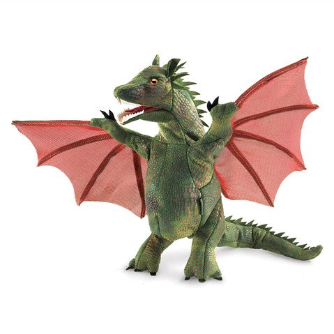 Fantasy play just got more entertaining with the Folkmanis® WINGED DRAGON puppet. Fierce and bold, this green flying reptile is a handful of fun. Create your own fairytale animating the mouth and wings of this magical beast.